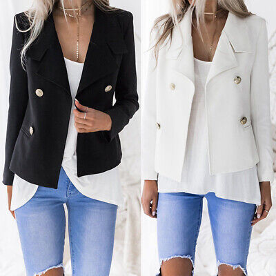 Women Autumn Winter Coat Jacket Outerwear Double Breasted New Basic Suit Blazer