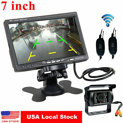 "Wireless Rear View Backup Camera Night Vision + 7"" Monitor For RV Car Truck Bus"