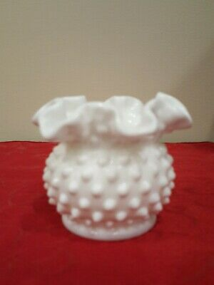 Vintage Small White Milk Glass Hobnail Ruffled Crimped Edge Vase Bowl Trinkets