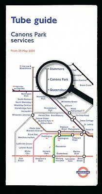 LONDON TRANSPORT UNDERGROUND TUBE MAP & GUIDE CANONS PARK SERVICES 20-May-2001