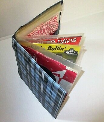 VINTAGE WALLET STYLE RECORD STORAGE CASE for 7inch singles 1960's CHECK PATTERN