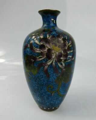 Japanese Antique Cloisonne Vase -SUPER QUALITY floral Design Meiji Period c19th