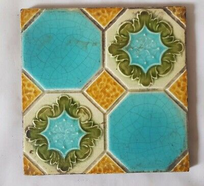 CHARMING 19TH CENTURY turquoise SYMMETRICAL DESIGN TILE. 6 INCH SQUARE