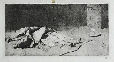 Mariano Fortuny (1838-1874) Signed Rare Spanish Etching Kabyle Mort 1867