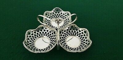 Antique HM 1907 Charles S Green Solid Sterling Silver 3 Basket Bon Bon Dish