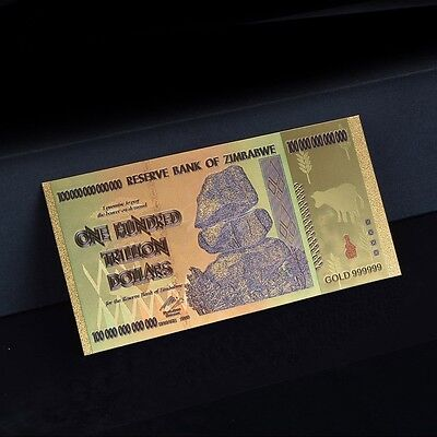 Zimbabwe 100 Trillion Dollars Banknote Gold Plated Pure 24K Gold & Coloured