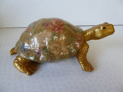 "Tortoise - Beautiful Hand Made Decoupage Lacquered 10"" Tortoise"