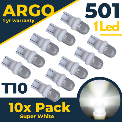 T10 501 Led White W5w Car Side Light Bulbs Number Plate Interior Xenon Hid Bulb