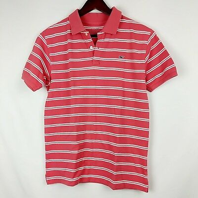 Vineyard Vines Polo Pink And White Striped Boys Size Large 16/18