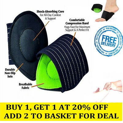 FOOT ARCH SUPPORT Cushioned Plantar Fasciitis Aid Fallen Arches Heel Pain Relief