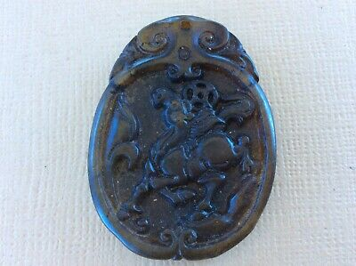 Chinese China well carved pale brown Jade pendant amulet horse antique