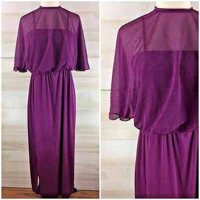 Vintage 70s purple sheer long draped maxi dress hippie boho casual party S M
