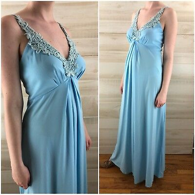 Vintage 70s Blue Floral Draped Hippie Boho Long Maxi Dress Empire Appliqué S M