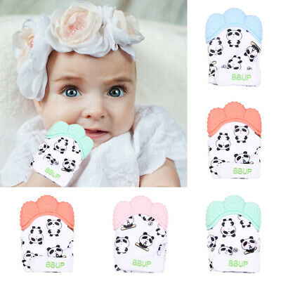 Baby Cartoon Silicone Teether Baby Molar Teething Mitten Gloves Bite-proof Toys
