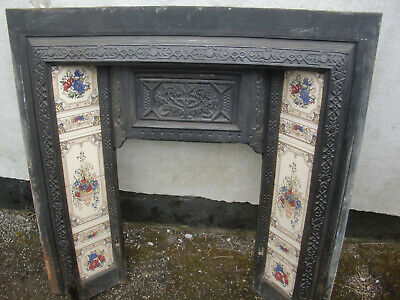 Victorian Edwardian Cast Iron Tiled Fire Place & back,grate,basket.