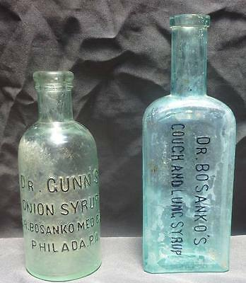 2 DR. BOSANKO MEDICINE BOTTLES-Onion Syrup-Cough & Lung Syrup-c.1880s