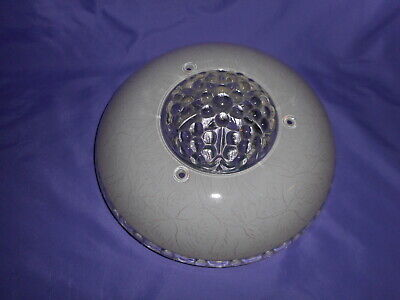 Vtg Round White Pink Clear Glass Ceiling Fixture Light Shade Globe 3 Hole Deco