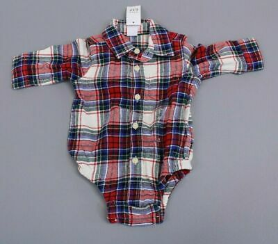 Baby Gap Boy's Long Sleeve Button Front Flannel Bodysuit CB4 Red Size 3-6M NWT