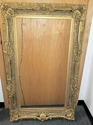 Beautiful Antique French Large Ornate Plaster on Wood Gilt Gold Frame 22 x 42