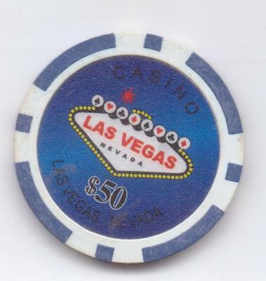 Casino-Las Vegas,Nevada.-$50.00 Chip-One 1/2 Inches Width