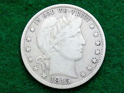 "1915 ""key Date"" Barber Half Dollar - Fine Or Better"