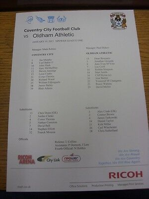 19/01/2013 Colour Teamsheet:  Coventry City v Oldham Athletic  . Unless previous