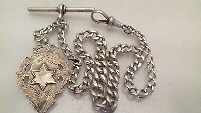 Antique Sterling Silver Graduated Albert Fob Watch Chain + Medal 1913