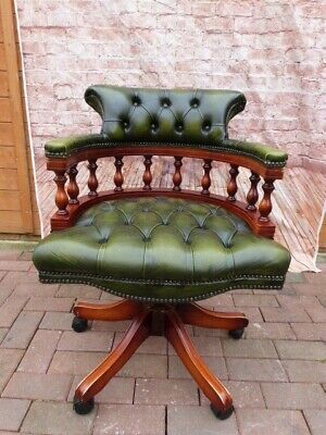 Antique Style Green Leather Button Back Adjustable Swivel Captains Desk Chair.