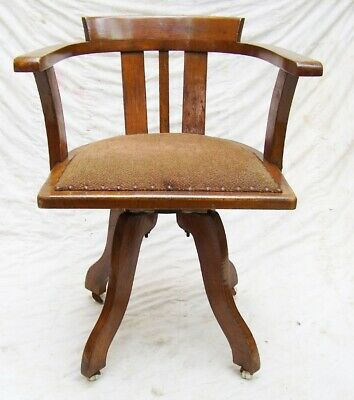 vintage 1920s Art Deco oak swivel office desk chair captains chair