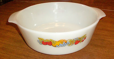 FIRE KING Anchor Hocking 3 Quart Nature's Bounty FAMILY SIZE Casserole Dish, NEW