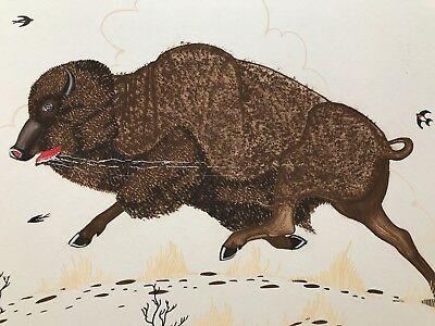 """Marvin Toddy Original Painting  """" Buffalo""""   Matted  20"""" X 20"""""""