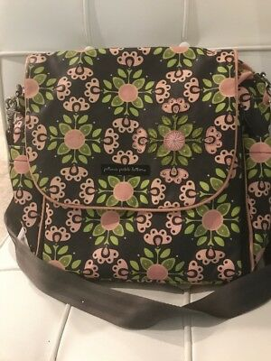 Petunia pickle bottom Gray And Pink Floral Large Diaper Bag
