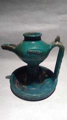 Persian Turquoise Glazed Oil Lamp, Seljuk Period, 12Th -13Th Century