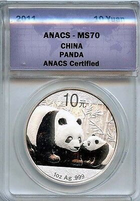 2011 10 Yuan ANACS MS 70 China Panda (BRILLIANT UNCIRCULATED) .999 Silver Coin