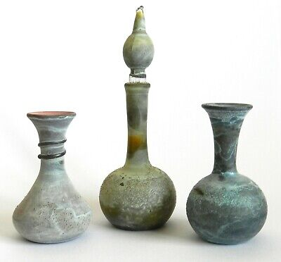 Set of 3 Antique Miniature Roman Glass Vase Pitcher Multi-Color Liquids Bottle