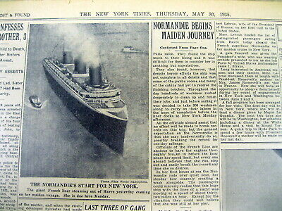 2 1935 NY Times newspapers Ocean Liner NORMANDIE sails on its MAIDEN VOYAGE