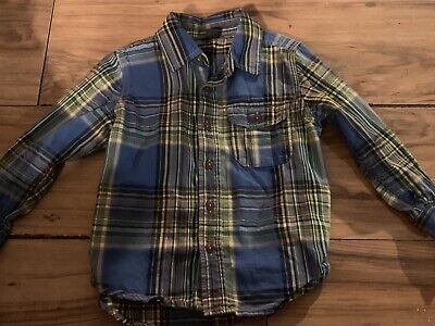 Baby Gap Boys Long Sleeve Button Up Shirt Size 4T Years Blue Yellow