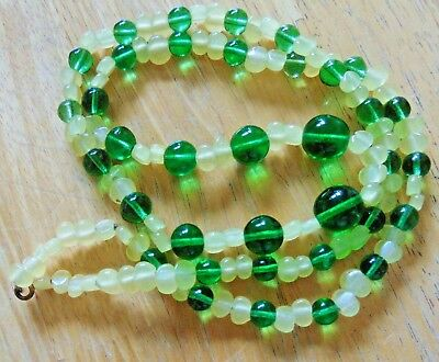 "Antique Long 30"" Necklace Of Green Glass With Citrus Yellow Uranium Glass Beads"