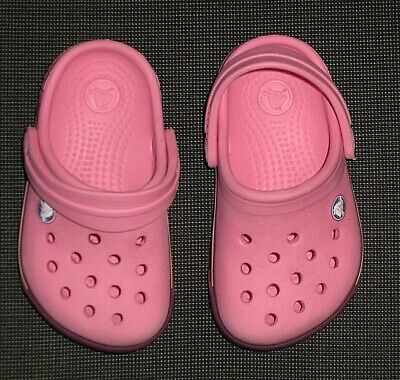 7d75349a46d7 CROCS PINK RUBBER Shoes Clogs Sandals Girl s Youth Baby Toddler Size ...