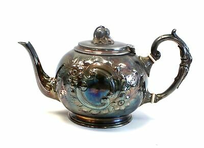 Vintage SILVER PLATE Ornate Embossed Floral Handle Teapot  - C72