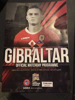 Gibraltar V Liechtenstein 16/10/2018 Official Programme And Teamsheet