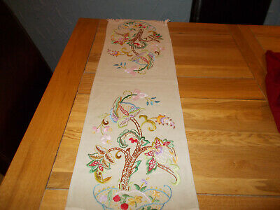 Stunning Vintage Linen Hand Embroidered Antimacassar