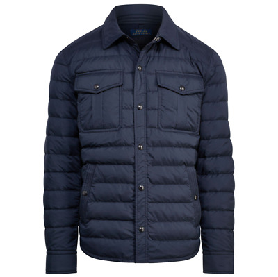 Polo Ralph Lauren Mens Navy Blue Quilted Down Water Repellent Puffer Jacket NWT