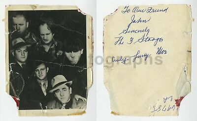 The Three Stooges - Full Autograph Set - Curly, Larry & Moe on Reverse of Photo
