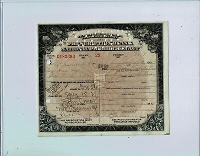1927 PROHIBITION PRESCRIPTION for Medicinal LIQUOR / ALCOHOL (Spiritus Frumenti)