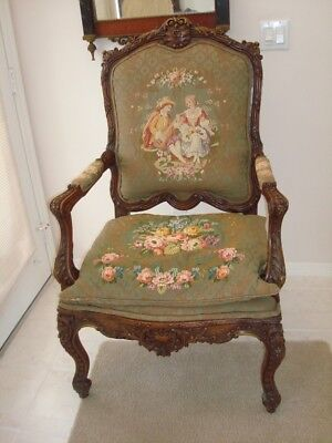 French Carved Walnut Arm Chair