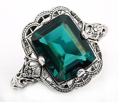 3CT Apatite 925 Solid Sterling Silver Filigree Ring Jewelry Sz 9
