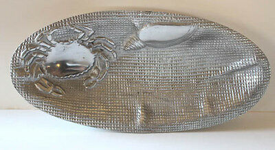 Crab & Seashell Cast Silver Aluminum Oval Tray Shallow Sauce Bowl Embossed 10""