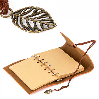 Coffee Vintage String Leaf Leather Notebook Diary Paper Journal Book Sketchbook