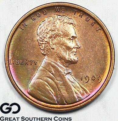 1909 Lincoln Cent Wheat Penny, Nice Rainbow Hues